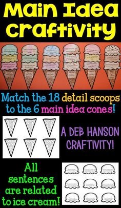 Main Idea & Details activity for the upper elementary classroom! All statements are related to ice cream. Students match each detail scoop of ice cream to the correct main idea cone, and then assemble the main idea craftivity! Makes a great main idea bulletin board, too!
