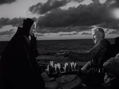 The Seventh Seal, Ingmar Bergman. With Max von Sydow as the mediaeval knight who plays a game of chess with Death. Also with Gunnar Bjornstrand. Max Von Sydow, Cybill Shepherd, Charlie Watts, Carole King, American Psycho, Batman Robin, Charlie Chaplin, Clint Eastwood, Blade Runner