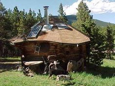Cabin with Solar Panel, power up the home with a system that costs less than a thousand dollars.