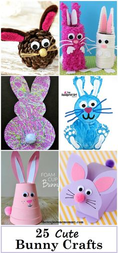 25 Cute Bunny Crafts: kids bunny crafts, cute rabbit crafts that would be fun for kids Easter crafts or spring crafts