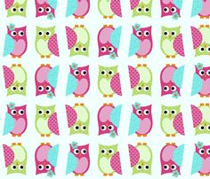 Whimsy Tots Owl Buddies custom fabric by chelsigilbert for sale on Spoonflower Owl Fabric, Custom Fabric, Spoonflower, Gift Wrapping, Sewing, Wallpaper, Cute, Prints, Pattern