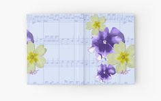 #SoftPurple&YellowFlowers #SheetMusic #HardCoverJournal by #MoonDreamsMusic