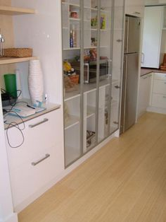Bamboo Flooring Pictures and Design Ideas: Natural Un-Carbonized Bamboo In A White Kitchen