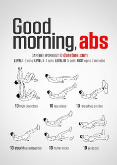 Good Morning Abs Workout Abdominal exercises and workouts Ab Core Workout, Abs Workout Video, Ab Workout At Home, Abs Workout For Women, Workout For Beginners, Workout Challenge, At Home Workouts, Model Workout, Quick Ab Workout