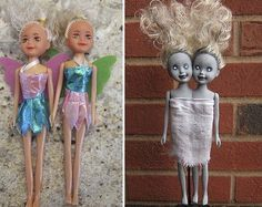 Zombie Siamese Twin Dolls http://www.justcraftyenough.com/2013/10/project-zombie-siamese-twin-dolls/ dollar store dolls to zombie dolls for Halloween decorations (DIY tutorials)