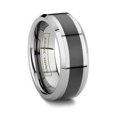 Tungsten World: The premiere source for Black Wedding Bands and women's & men's Black Tungsten Wedding Bands. We also have tungsten carbide Carbon Fiber Rings & two tone ceramic inlay black tungsten rings Mens Wedding Rings Tungsten, Black Tungsten Rings, Wedding Anniversary Rings, Wedding Ring Bands, Best Jewellery Design, Jewelry Branding, Rings For Men, Sinbad, Tungsten Carbide