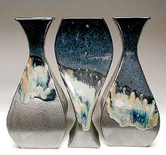 Mangum Pottery: Functional Vases. Geometric. Cool way to tie pieces together with glazing.