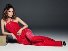 Love this photo of Rose Byrne in a plush red jumpsuit for Harpers BAZAAR Spain