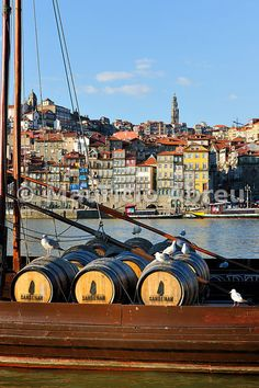 Barrels of wine in a Rabelo boat. Douro river, Oporto, Portugal - Images of Portugal Places In Portugal, Spain And Portugal, Portugal Travel, Visit Portugal, Douro Portugal, Douro Valley, Rio, Azores, Best Cities