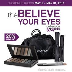 Younique May Customer Kudos 2017 Is The Believe Your Eyes Collection! 20% OFF!