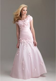 #Pink Cap Sleeves Trumpet Prom   Dress with Beaded Flowers #ball #prom