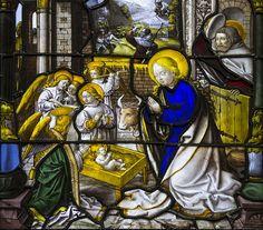 """The Holy Family in Bethlehem. """"The shepherds came quickly and they found Mary and Joseph, and the Child lying in the manger."""" – Antiphon at First Vespers for the feast of the Holy Family."""