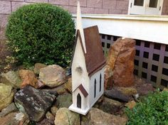 Handmade Cathedral Church Birdhouse - Old Tin Roof - Rough Hewn Pine by southernprettys on Etsy https://www.etsy.com/listing/214618270/handmade-cathedral-church-birdhouse-old