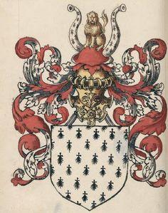 "Duché de Bretagne, Armorial Le Blancq f°91v (©BNF) -- see more in: L'Armorial de Jehan de Saintré - le ""gotha"" en 1456 (5)"