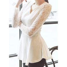 Party Shirts Peplum V neck Formal Tops Blouses