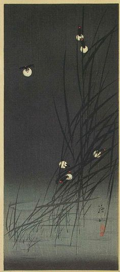 伊藤 総山 / Fireflies in Reeds (post-earthquake)  by Ito Sozan, 1925