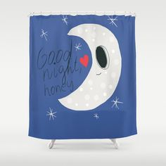 Good Night Moon Shower Curtain - 71 in x 74 in Gift Cute Kids Children Apartment Bath Bathroom Nursery Decor Accent Original Art Blue USD) by xkbeth