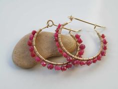 Red Ruby gemstone earrings wire wrapped on Gold filled gauge – faceted beads – Natural stones