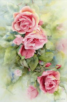 Watercolor Rose, Watercolor Landscape, Watercolor Illustration, Watercolour Painting, Art Floral, Vintage Flowers, Painting Techniques, Flower Art, Beautiful Flowers