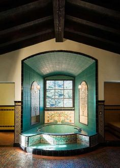An Authentic Spanish Colonial Revival Hacienda is part of Spanish bathroom Nestled in a deep valley on a Spanish rancho in Hidden Valley, CA, just 45 miles west of downtown Los Angeles, this - Spanish Bathroom, Spanish Style Bathrooms, Spanish Style Homes, Spanish House, Spanish Revival, Hacienda Style Homes, Spanish Tile, Hacienda Decor, Wc Decoration