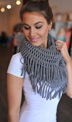 A fringe scarf is the perfect summer-to-fall accessory! Pair this with a comfy t-shirt, denim and your favorite jacket or vest for a put-together and comfortable look!