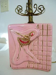 Mid Century Pink Ballerina Table Lamp by handmadenvintage on Etsy, $25.00