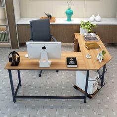 L-Shaped Desk Corner Computer Gaming Laptop Table Workstation Home Office Desk Office Table, Home Office Desks, Home Office Furniture, Furniture Movers, Diy Computer Desk, Pc Desk, Computer Workstation, Gaming Computer, Modern L Shaped Desk