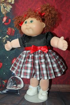 Cabbage Patch Doll Cloths - Dress Plaid Black/Red/White-2 hair ribbon-panties.   #CabbagePatchKids