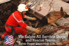We Salute All Service and #RescueDogs and teams during the #9/11 attacks. Never Forget <3