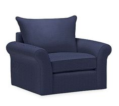 PB Comfort Roll Arm Upholstered Swivel Armchair, Knife Edge Polyester Wrapped Cushions, Performance Tweed Navy