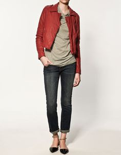 instead of the usual black, why not try a punchy red leather jacket that's perfect for the Christmas season? :)