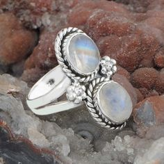 New Look 925 SOLID STERLING SILVER Moonstone FANCY RING 5.31g DJR9566 SIZE-5.75 #Handmade #Ring