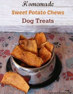 Homemade Sweet Potato Chews Dog Treats They are made with only 3 simple and inexpensive ingredients that you can feel great about feeding to your pet. If you are looking for a grain-free treat for your dog this is a great alternative. #dogtreats