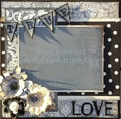 8x8 True Love Premade Scrapbook Layout by ArtfulJunkTrunk on Etsy