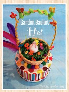 Garden Basket Hat - Teach Me Mommy Easter Garden, Garden Basket, Spring Has Sprung, Art Projects, To My Daughter, Base, Posts, Holidays, Teaching
