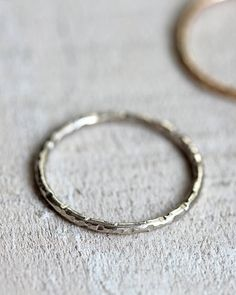 14k white gold ring simple thin band or wedding ring by Praxis Jewelry, $90.00