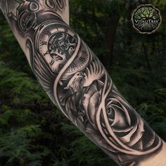 """121 Likes, 4 Comments - VitaliTree Tattoo (@vitalitreetattoo) on Instagram: """"Delicately balanced doves and roses universally remind us of the transient nature of life... Tick,…"""""""