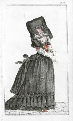 Venetian woman in a vesta de zendale; a long cloak of taffeta, black head covering and black veil. From the fashion magazine Journal des Luxus und der Moden, 1788