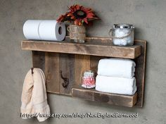 BATHROOM SHELF with Hooks, Rustic Bathroom Decor, Rustic Towel Rack, Bathroom…