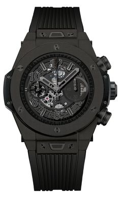 On the occasion of the Geneva Trade Show Hublot presents the new Big Bang Unico, which is now totally black and matt. Introducing the Hublot Big Bang Unic. Hublot All Black, All Black Watches, Dream Watches, Luxury Watches For Men, Cool Watches, Unique Watches, Amazing Watches, Casual Watches, Big Bang