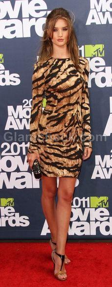 Rosie Huntington in a tiger print dress