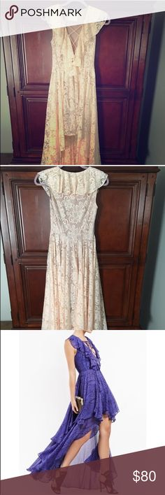 Free People Jet Set Diaries lace high low dress Free People jetset diaries lace dress in a cream/light peach color. Has high low hem, sweeps ground in back, maxi style. Lace up detail at chest - beautiful dress for weddings, cocktail parties, summer evenings. Bought off Poshmark, never worn, too small for me unfortunately! Size small, side zipper. Free People Dresses High Low