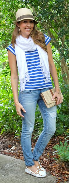 Striped t-shirt casual outfit (minus the hat)