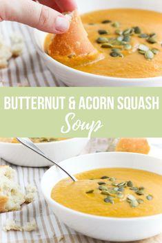 Butternut & Acorn Squash Soup via RDelicious Kitchen @RD_Kitchen #soup #vegan #vegetarian #squash #butternutsquash #acornsquash #fall #recipe