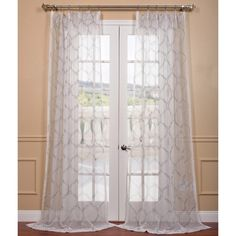 Florentina Silver Embroidered Sheer Curtain Panel | Overstock.com Shopping - Great Deals on EFF Sheer Curtains