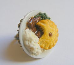 Food Jewelry Steak Pie and Mash Miniature Food Ring by NeatEats