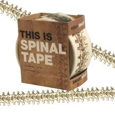 "Need to give a box, book or anything else a little ""spine""? This Smart Tape is just the ticket. 1.75 inches wide and 997 inches long (25 meters long). This spool of backbone tape contains 2475 vertebrae with which you can decorate and customize any surface or box. What a novel and useful play on words!"