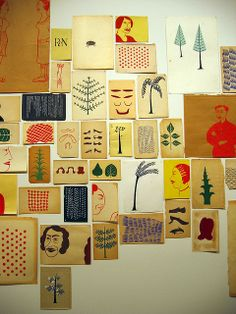 "Margaret Kilgallen - ""I like things that are handmade and I like to see people's hand in the world, anywhere in the world; it doesn't matter to me where it is. And in my own work, I do everything by hand....From a distance it might look straight, but when you get close up, you can always see the line waver. And I think that's where the beauty is."""