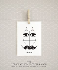 """A personalised greeting card! Get it free with every organic Cotton t-shirt """"A Fox with a polka dot moustache"""" by Rooftop. Organic Cotton T Shirts, Poster Prints, Art Prints, Graphic Design Posters, Free Clothes, Moustache, Rooftop, Polka Dots, Objects"""