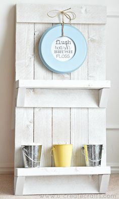 I've needed a new bathroom shelf for a while and this fun idea popped into my head! Let me show you how I turned this… into this… Oh, and I'm also giving you a free printable that I used, too! Supplies Needed… Pallet or long wood pieces Saw Tape Measure Nails {used a nail gun} …